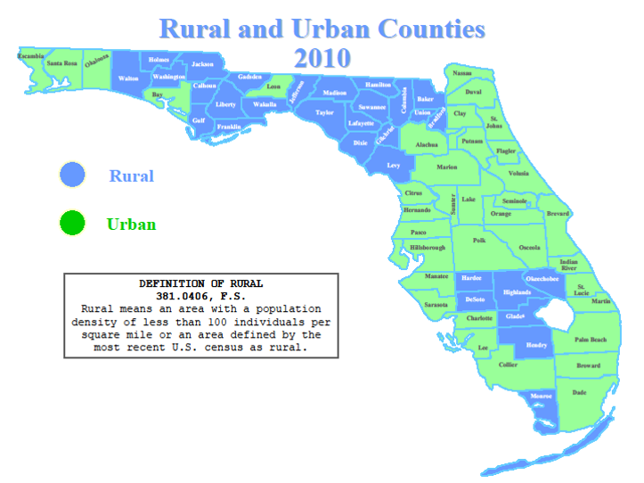 Florida Map Of Counties.Florida Rural And Urban Counties Northeast Florida Ahec